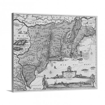 Antique Map Of The Mid Atlantic And New England 1685 Wall Art - Canvas - Gallery Wrap