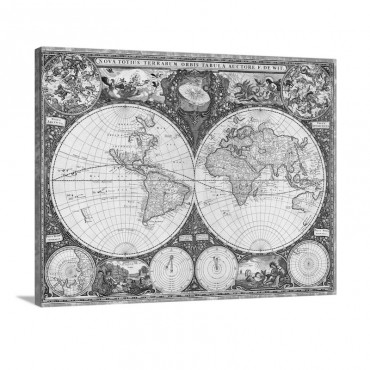 Antique Map Of The World 1660 Wall Art - Canvas - Gallery Wrap