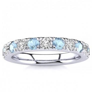 3.2MM Aquamarine Diamond Ring - White Gold