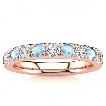 3.2MM Aquamarine Diamond Ring - Rose Gold