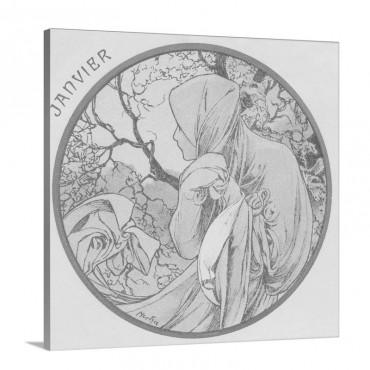 Art Nouveau Janvier January Wall Art - Canvas - Gallery Wrap