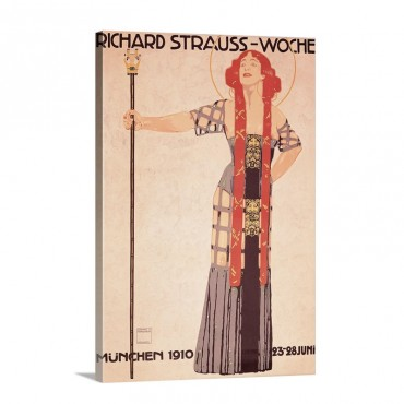 Art Nouveau Poster For Richard Strauss Woche Munchen By Ludwig Hohlwein 1910 Wall Art - Canvas - Gallery Wrap