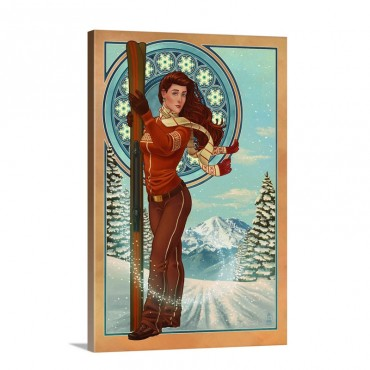 Art Nouveau Skier Retro Poster Art Wall Art - Canvas - Gallery Wrap