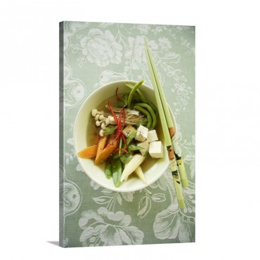 Asian Vegetable Soup With Tofu And Enoki Mushrooms Wall Art - Canvas - Gallery Wrap