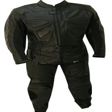 2 Piece Alienator Motorcycle Leather Racing Suit All Black