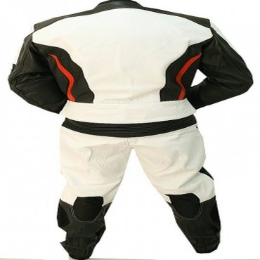 2 Piece Black and White Alienator Motorcycle Leather Racing Suit