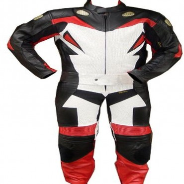 2 Piece Motorcycle Riding Racing Leather Track Suit with Padding New Red