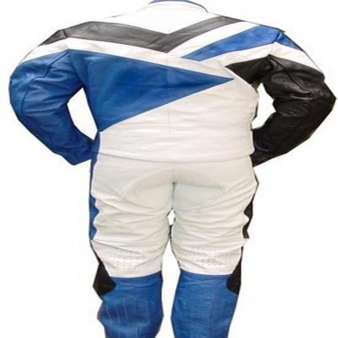 2 Piece Motorcycle Riding Racing Track Suit with padding All Leather Drag Suit Blue