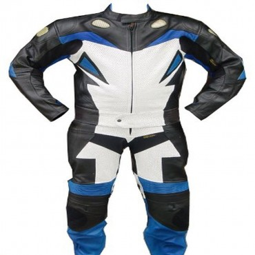 2 Piece Motorcycle Riding Racing Leather Track Suit with Padding New Blue/White/Black
