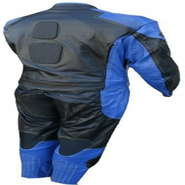 2 Piece Motorcycle Racing Riding Leather Track Suit with Armor Padding New Blue/Black