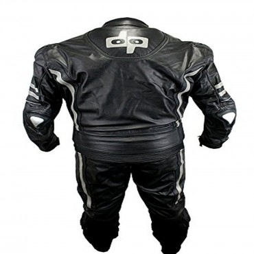 2 Piece Perrini Ghost II Motorcycle Racing Leather Suit with Metal Waist Zipper