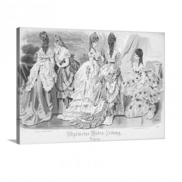 Ballgowns Fashion Plate From The Allgemeine Moden Zeitung Leipzig 1872 Wall Art - Canvas - Gallery Wrap