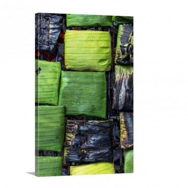 Banana Leaf Parcels Filled With Fish On A Barbecue Wall Art - Canvas - Gallery Wrap