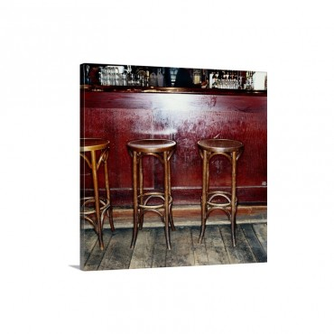 Bar Stools In Pub Wall Art - Canvas - Gallery Wrap