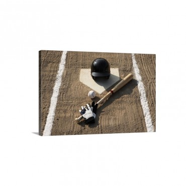 Baseball Bat Batting Gloves And Baseball Helmet At Home Plate Wall Art - Canvas - Gallery Wrap