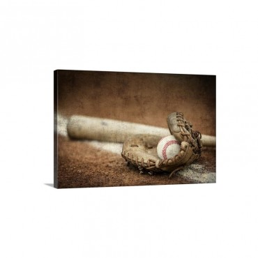 Baseball Equipment On The Field Wall Art - Canvas - Gallery Wrap