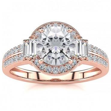Beatriz Moissanite Ring - Rose Gold