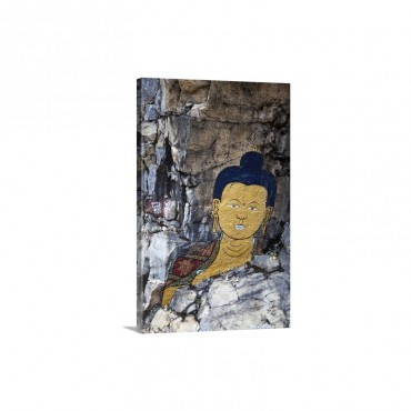Bhutan Trongsa Rock Painting Scene From Travelers And Magicians Movie Wall Art - Canvas - Gallery Wrap