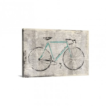 Bicycle On News Wall Art - Canvas - Gallery Wrap