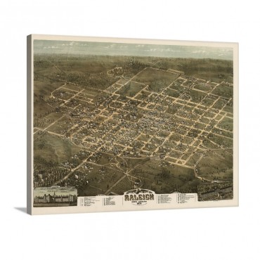 Bird's Eye View Of Raleigh North Carolina 1872 Wall Art - Canvas - Gallery Wrap