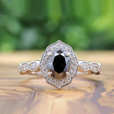 Black Diamond Vintage Floral Diamond Engagement Ring Set