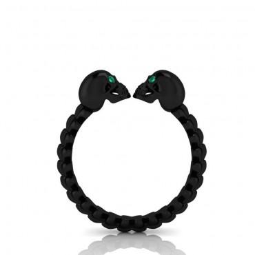 Black Gold Emerald Skull Ring