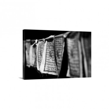 Black And White Buddhist Prayer Flags Wall Art - Canvas - Gallery Wrap