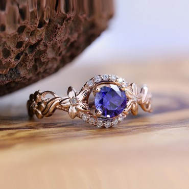 Blue Sapphire Floral Rose Gold Diamond Ring