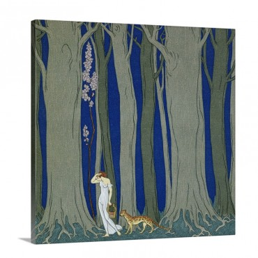 Book Illustration Of A Woman And A Leopard In The Forest By Georges Barbier Wall Art - Canvas - Gallery Wrap