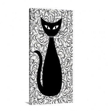 Boomerang Cat In Gray Wall Art - Canvas - Gallery Wrap