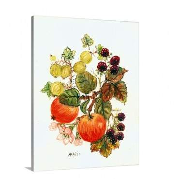 Brambles Apples And Grapes Wall Art - Canvas - Gallery Wrap