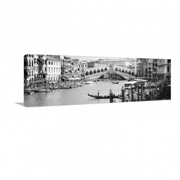 Bridge Across A River Rialto Bridge Grand Canal Venice Italy Wall Art - Canvas - Gallery Wrap