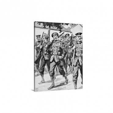 Caricature Like Drawing Of Confident British Troops On Way To Front Line Wall Art - Canvas - Gallery Wrap