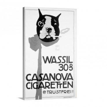 Casanova Cigarette Boston Terrier Vintage Poster Wall Art - Canvas - Gallery Wrap