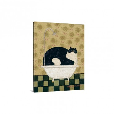 Cat In A Hot Tin Tub Wall Art - Canvas - Gallery Wrap