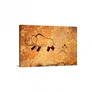 Cave Painting Of Primitive Man Hunting For Mammoth Wall Art - Canvas - Gallery Wrap