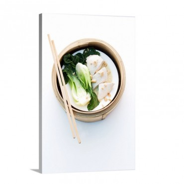 Chicken Breast With Pak Choi Cooked In A Steaming Basket Wall Art - Canvas - Gallery Wrap