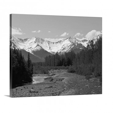 Chugach Mountains Running Stream Summer Alaska Wall Art - Canvas - Gallery Wrap