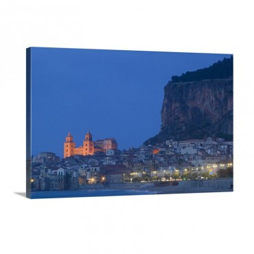 City Lit Up At Dusk Cefalu Sicily Italy Wall Art - Canvas - Gallery Wrap