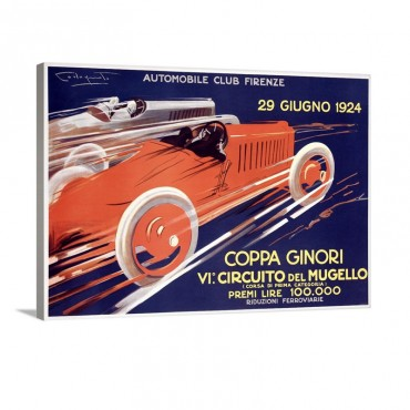 Coppa Ginori Automobile Race Vintage Poster Wall Art - Canvas - Gallery Wrap
