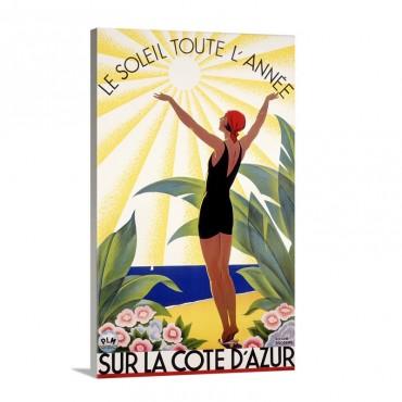 Cote DAzur Le Soleil Toute LAnne Vintage Poster By Roger Broders Wall Art - Canvas - Gallery Wrap