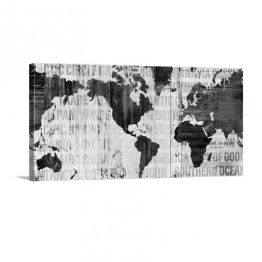 Crate World Map Neutral Wall Art - Canvas - Gallery Wrap