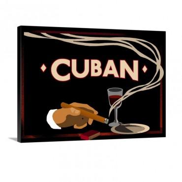Cuban Vintage Cigar Advertisement Wall Art - Canvas - Gallery Wrap