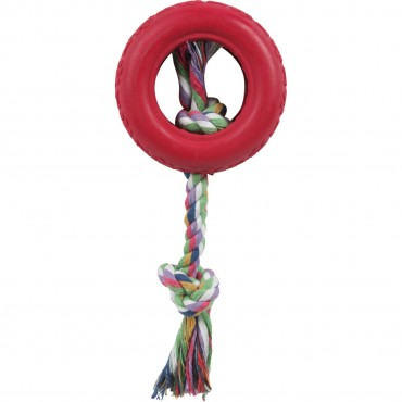 Rubberized Pet Chew Rope And Tire - Red