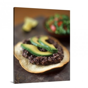 Deep Fried Tortilla With Black Beans And Avocado Slices Wall Art - Canvas - Gallery Wrap