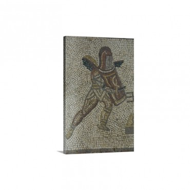 Detail Of A Gladiator From Carpet Border In Mosaic West Sussex England Wall Art - Canvas - Gallery Wrap