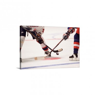 Detail Of Ice Hockey Face Off Wall Art - Canvas - Gallery Wrap