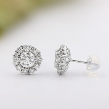 1.00CT.Tw Diamond Halo Stud Earrings