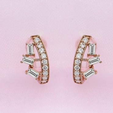 Diamond Hoop Earrings Rose Gold