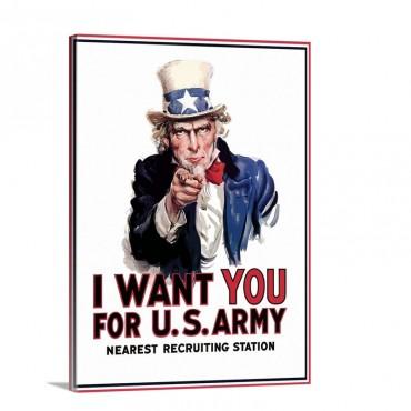 Digitally Restored Vector War Propaganda Poster Uncle Sam Vintage War Poster Wall Art - Canvas - Gallery Wrap